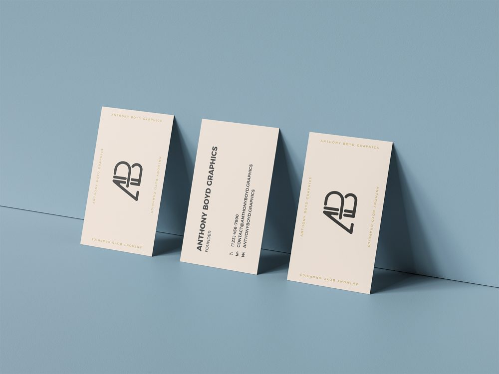 Triple Business Card Mockup