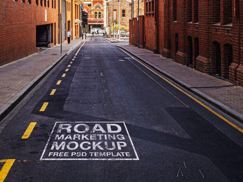 Free Spray Paint Road Marketing Mockup