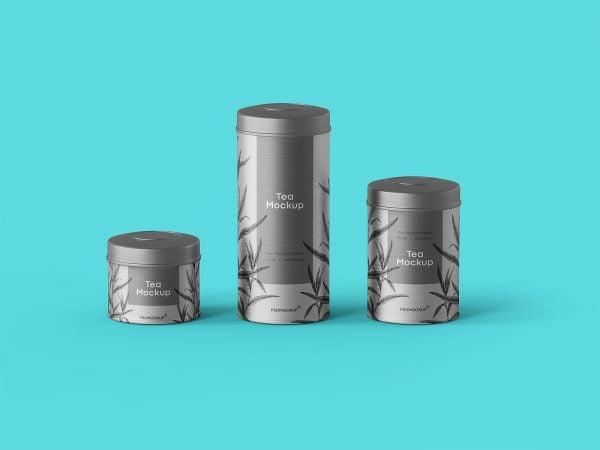 Tea Tin Box Packaging Mockup
