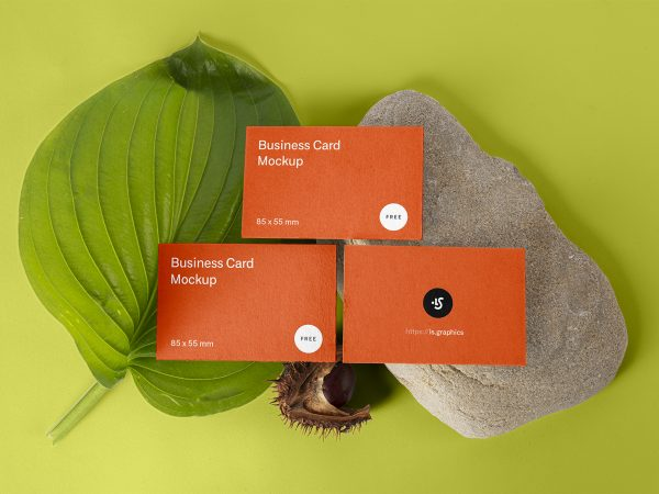 Free Floral Three Business Cards Mockup