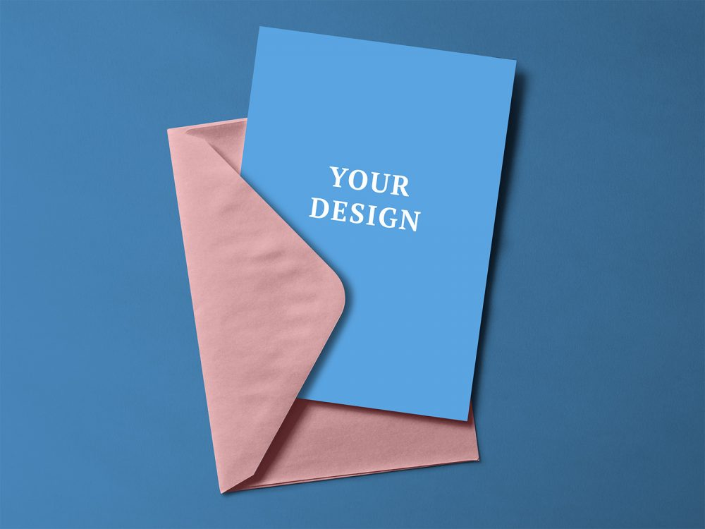 Free Greeting Card with Envelope Mockup PSD