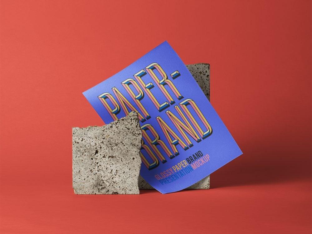 PSD Glossy Paper Brand Mockup