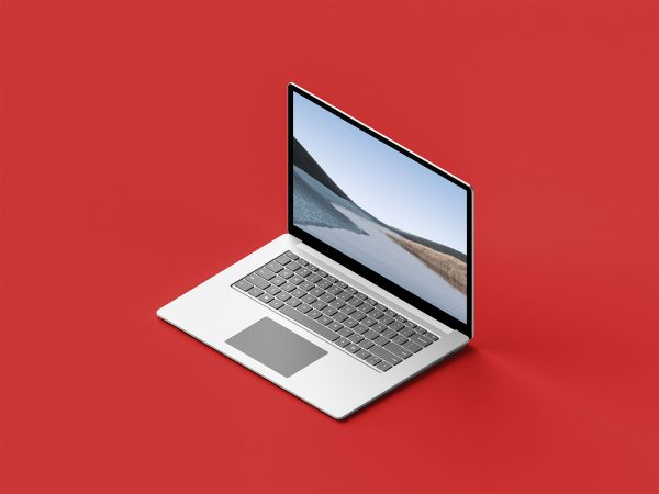 Isometric Surface Laptop 3 Free Mockup