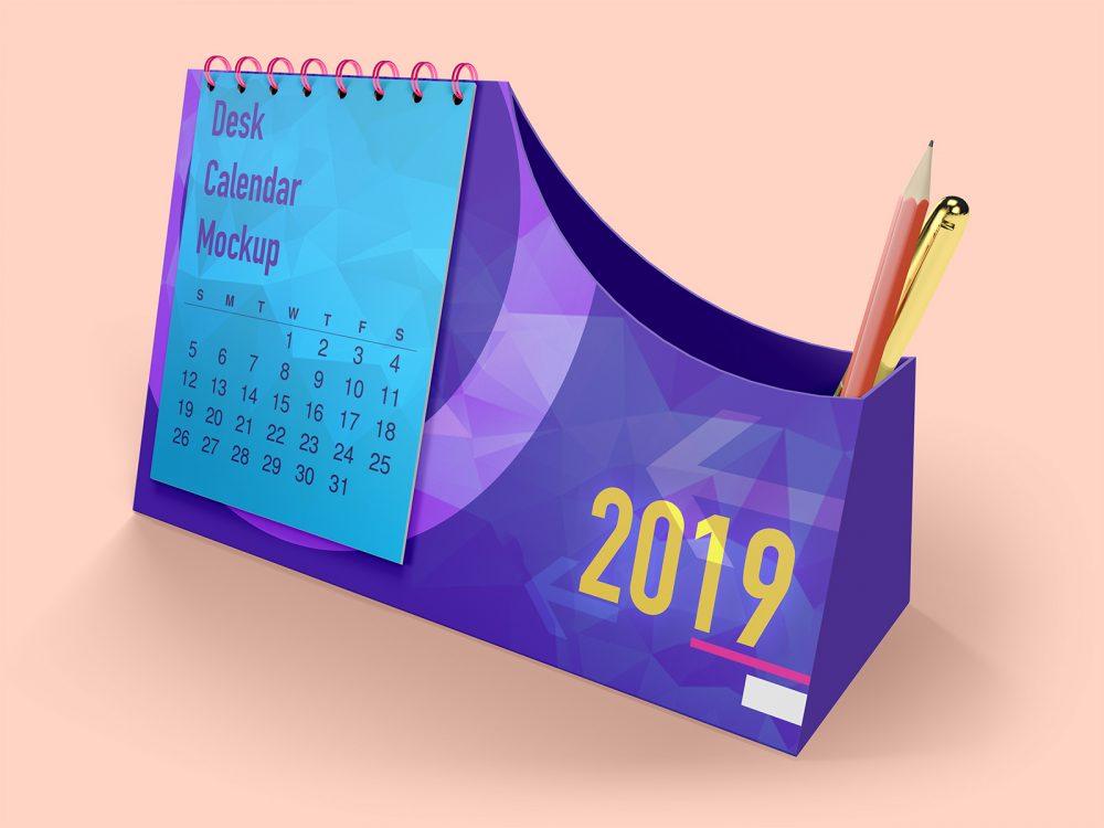 Desk Calendar with Pen Box Mockup