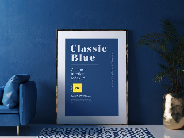 Free Poster Frame Mockup in the Classic Blue Interior