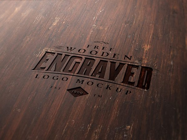 Free Wood Engraved Logo Mockup