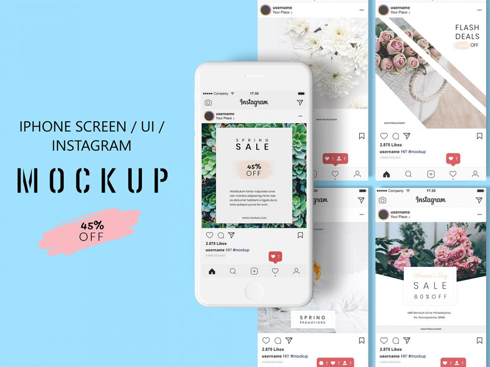 Free iPhone Screen / UI / Instagram Design Mockup