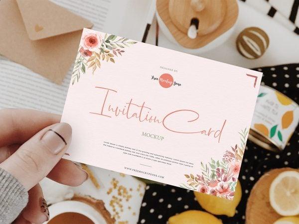 Invitation Card Mockup in Girl's Hand