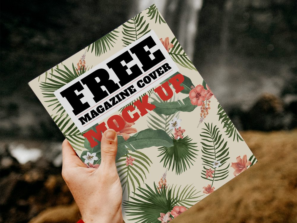 Travel Magazine Free Cover Mockup in Hand