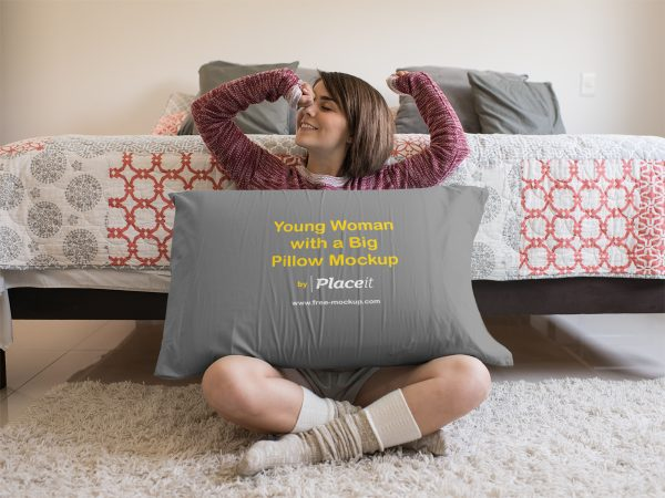 Young Woman Sitting Down with a Big Pillow Mockup