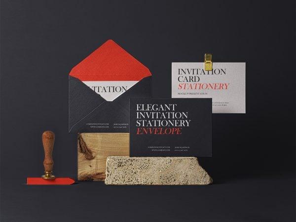 Elegant PSD Invitation Mockup Set