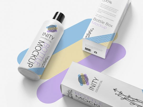 Free Customizable Bottle with Box Packaging Mockup