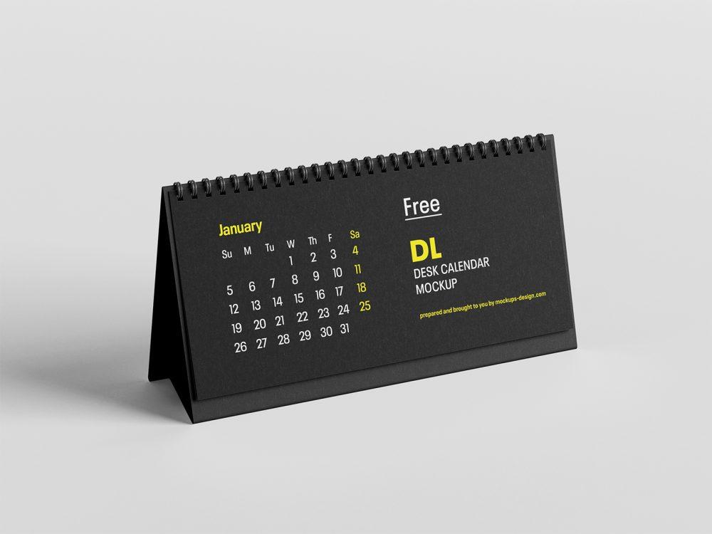 Free DL Desktop Calendar Mockup