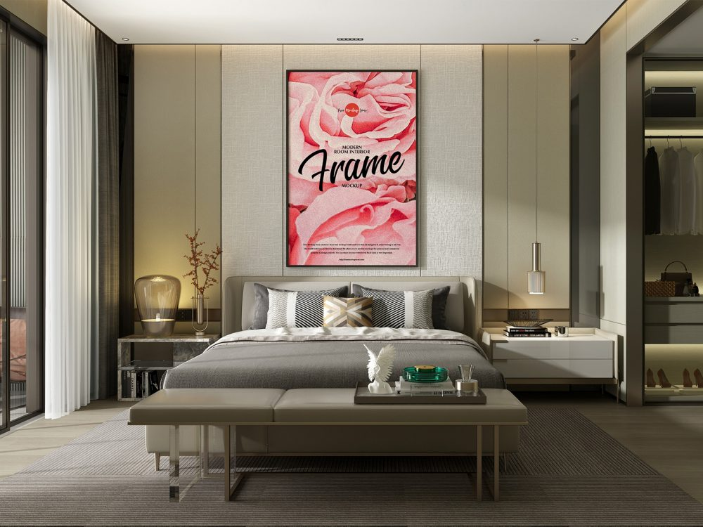Free Poster Frame Mockup in the Modern Interior