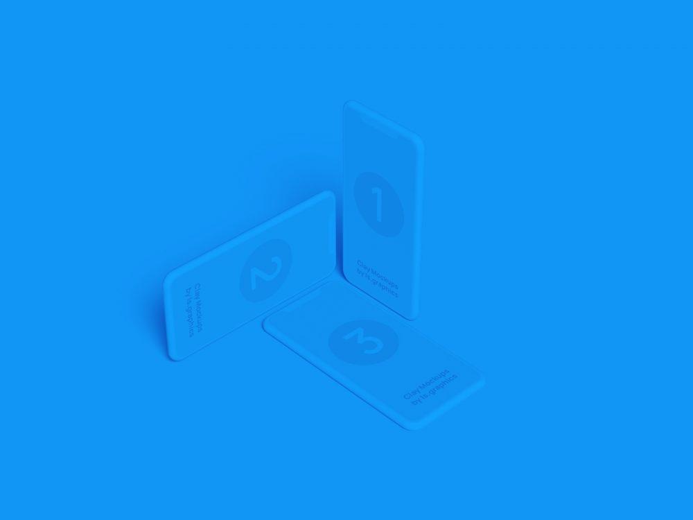 Three iPhone Clay Mockups (Figma, Photoshop, Sketch)