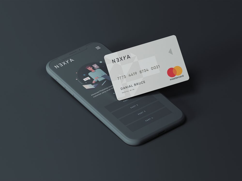Cell Phone with Credit Card Mockup
