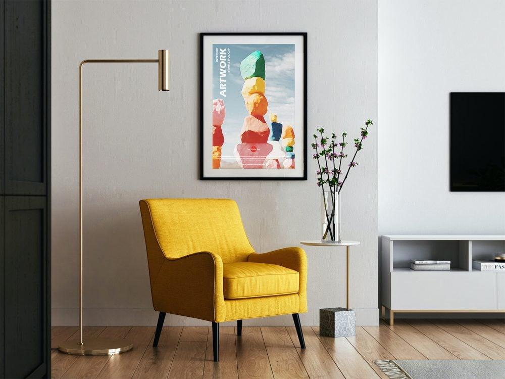 Free Modern Interior Poster Frame Mockup