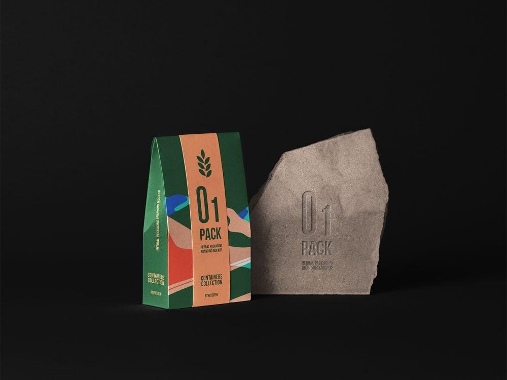 Herbal Paper Bag Packaging Mockup