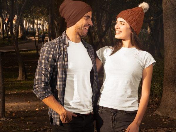 Mockup of a Couple Wearing T-Shirts