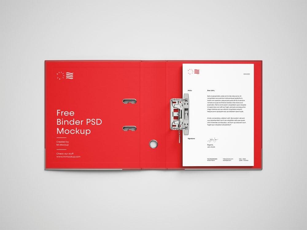 Open Binder Brand Folder with Letterhead Mockup
