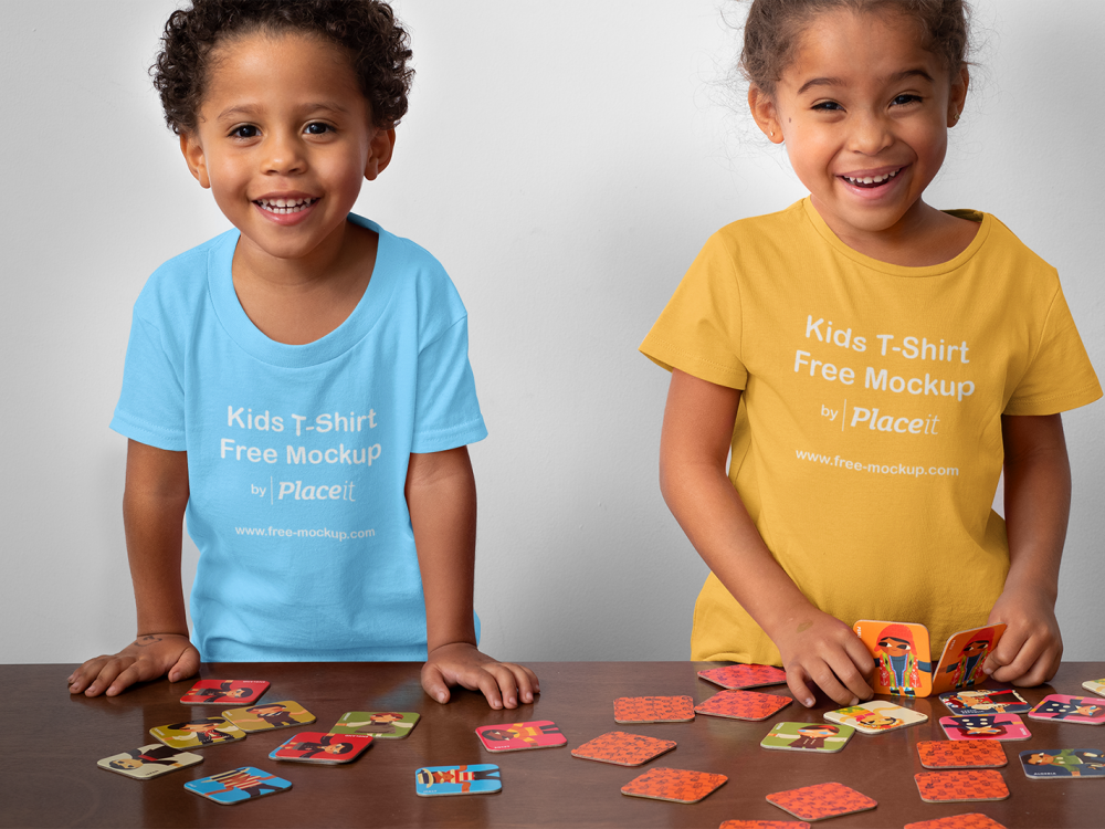 T-Shirt Mockup of Two Siblings Playing Memory
