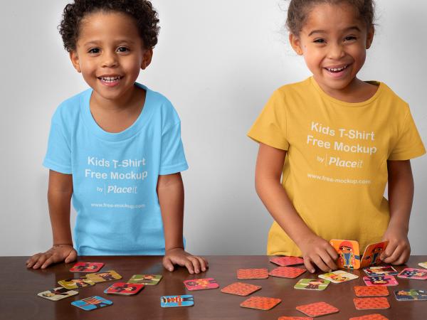 T-Shirt Mockup of Two Siblings Playing Memory
