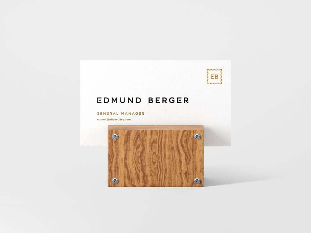 Business Card Mockup with a Wood Holder