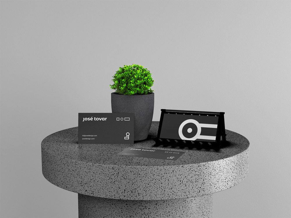 Business Cards with Plant Branding Mockup