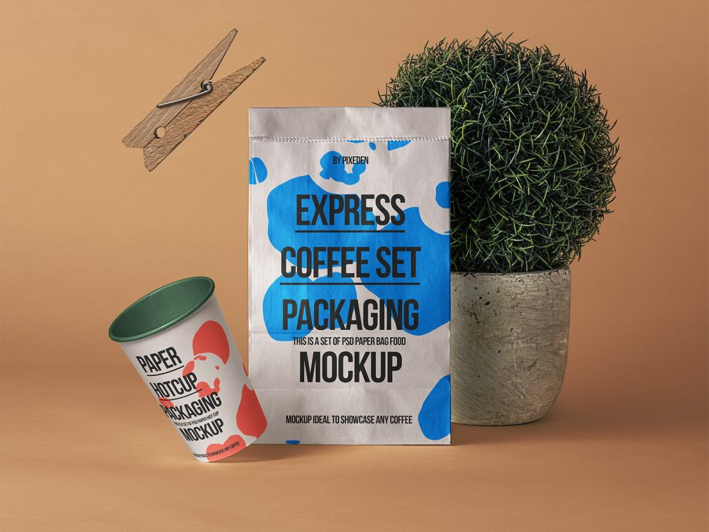 Free Paper Bag with Paper Coffee Cup Mockup