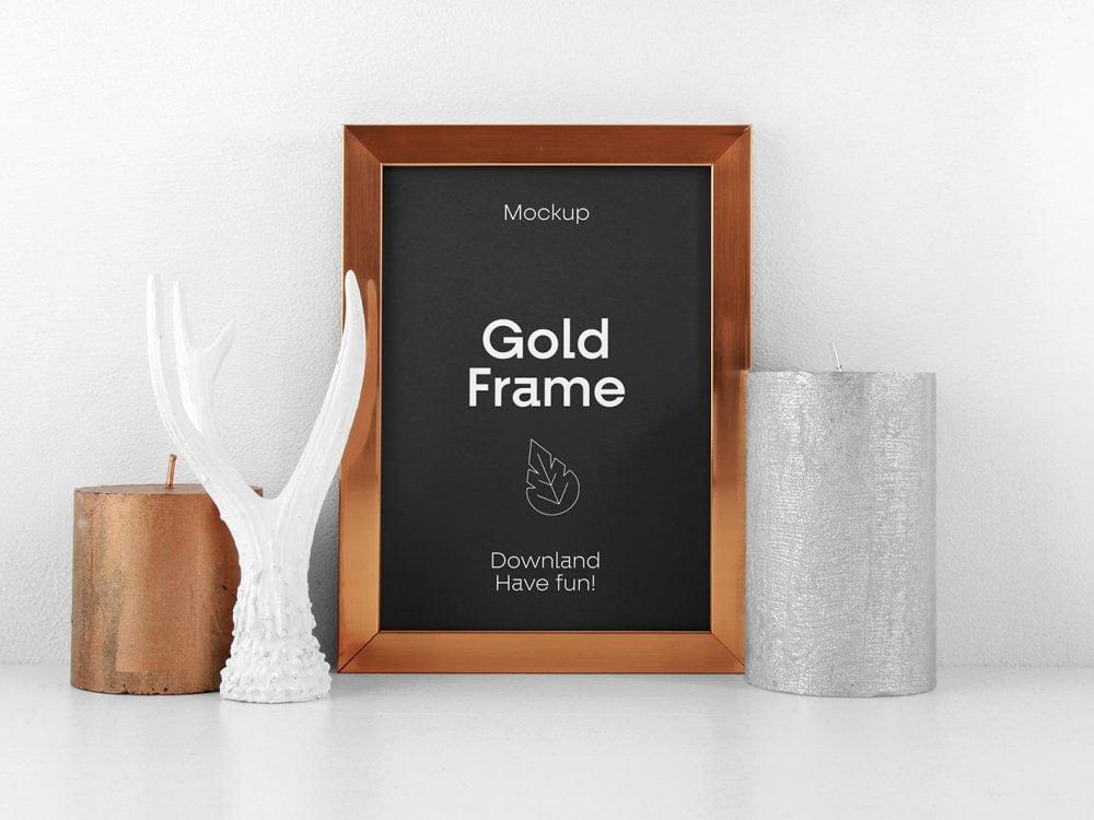 Gold Frame PSD Mockup