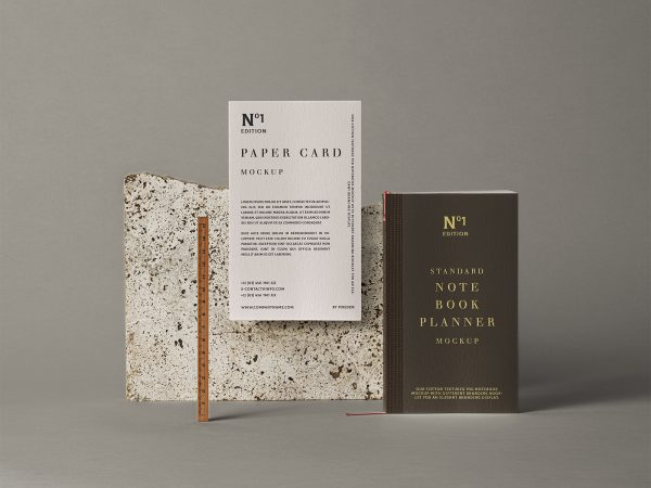 Notebook Stationery Free Mockup