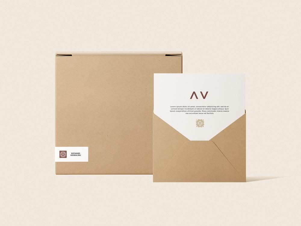 Envelope and Box Mockup