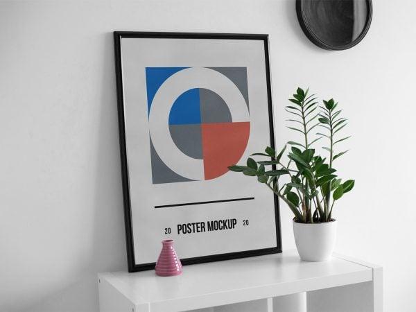 Free Poster Mockup on a Desk
