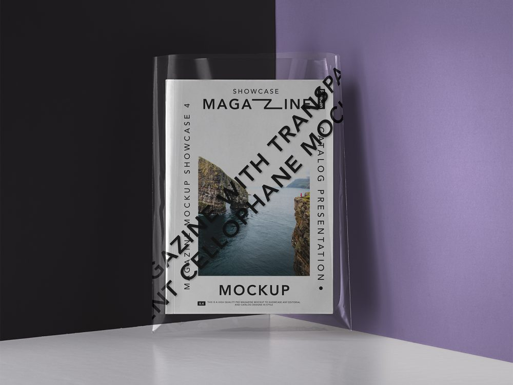 Magazine with a Transparent Cover Mockup