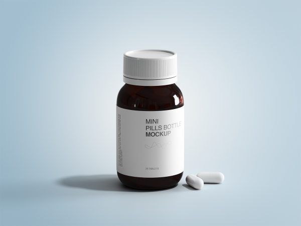 Mini Pills Bottle Mockup