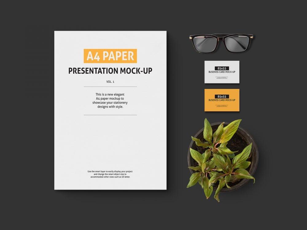A4 Paper Free Presentation Mockup