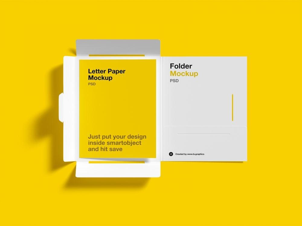 Free Brochure Folder with Letterhead Mockups