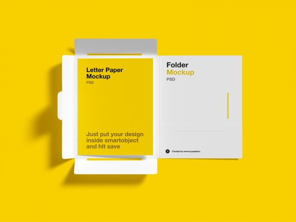 Free Brochure Folder with Letterhead Mockups