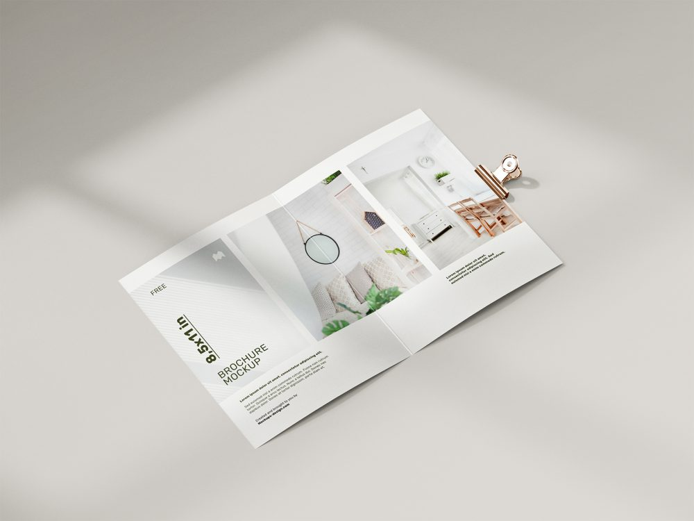 Free Folded 8.5 x 11 in Brochure Mockup