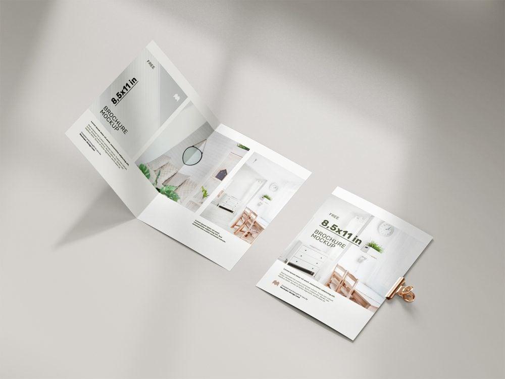 Free Folded 8.5 x 11 in Brochure Mockup