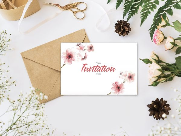 Free Invitation Mockup with Envelope