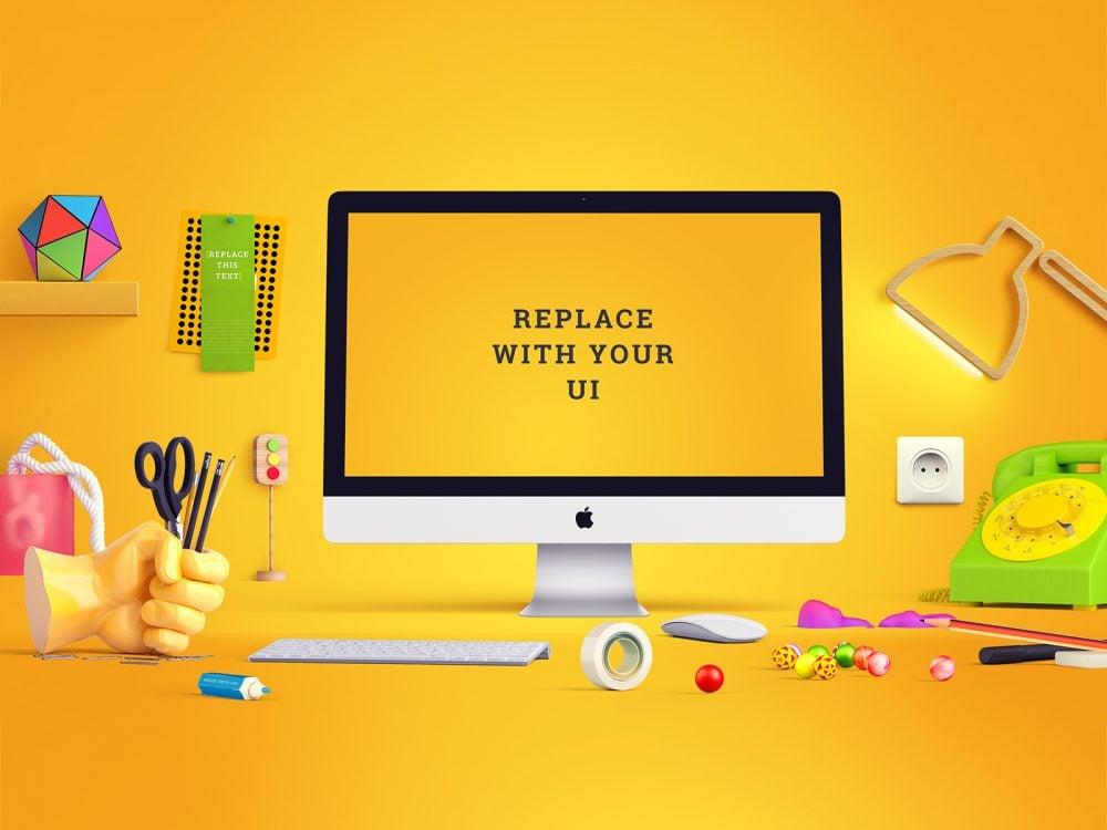 Free iMac Mockup Scene Generator
