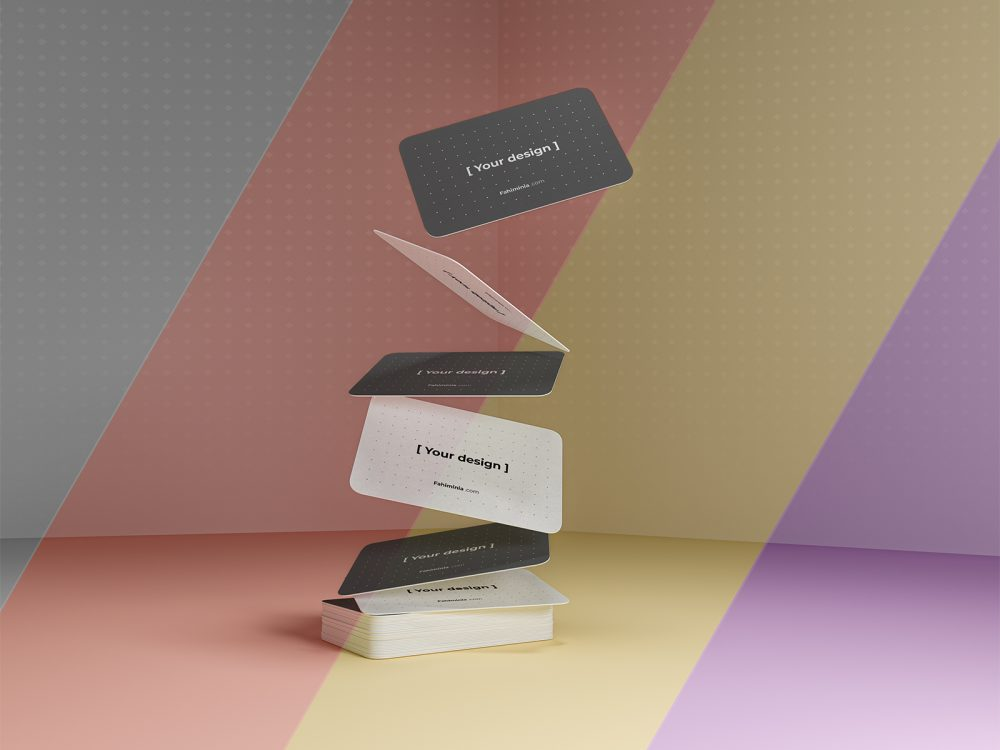 Gravity Business Cards Free Mockup