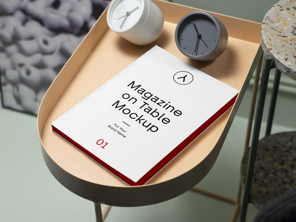 Magazine on Table Free Mockup