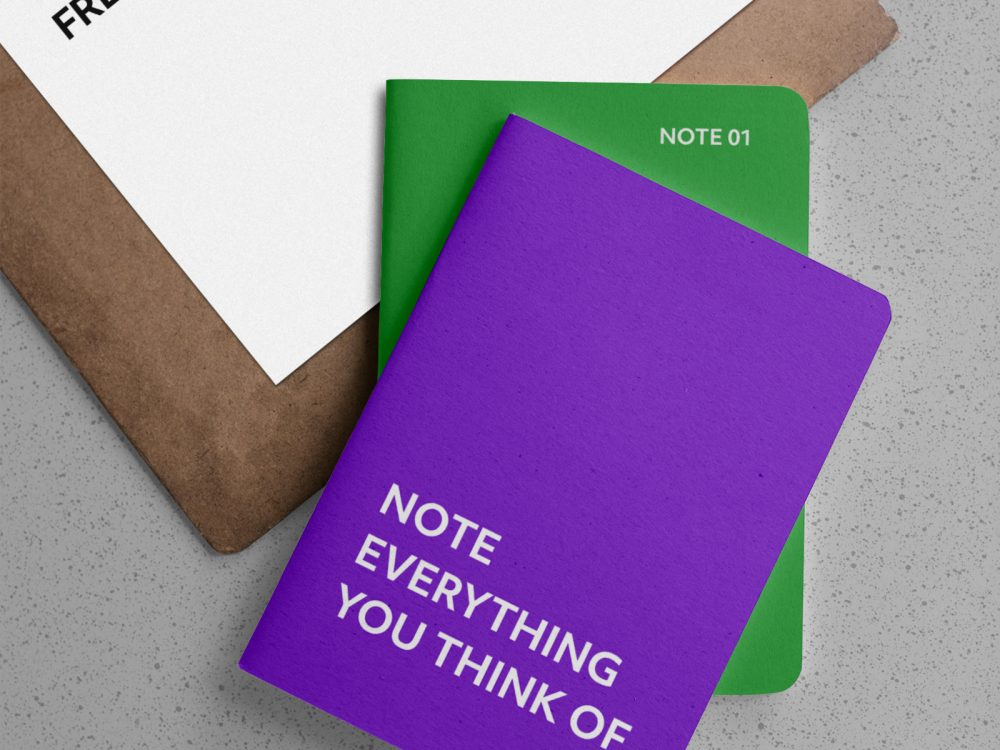 Notebooks with Clipboard Free Mockups