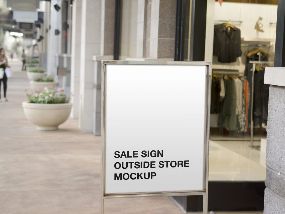 Sale Sign Outside Store Mockup
