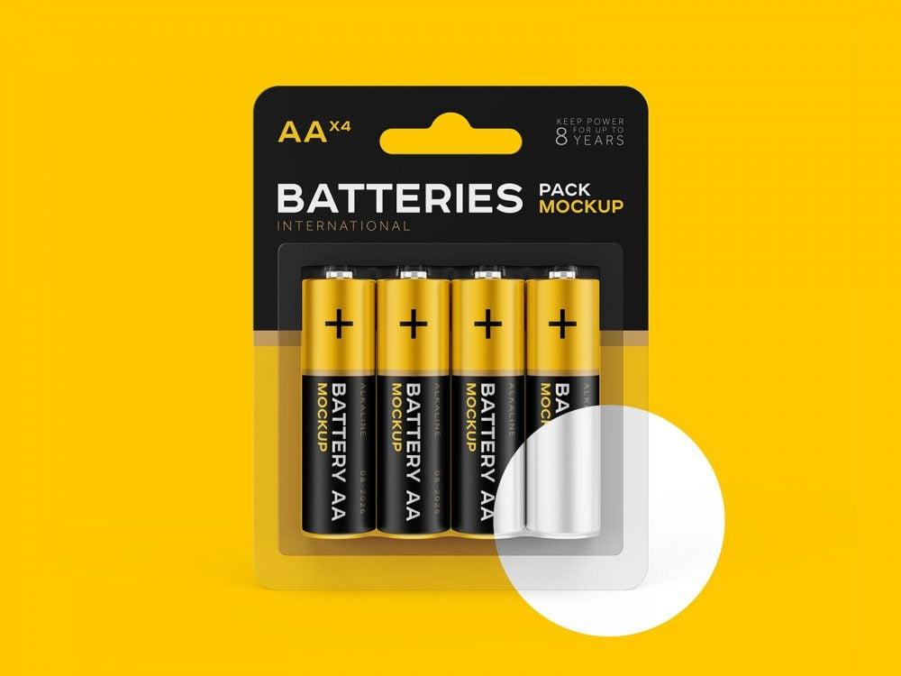 AA Battery Branding Free Mockup