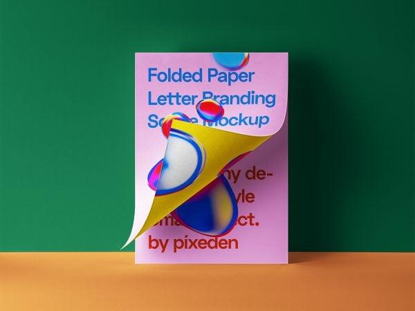 Folded Letter PSD Paper Mockup