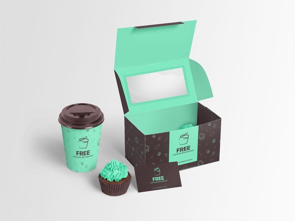 Free Cupcake Box Mockup