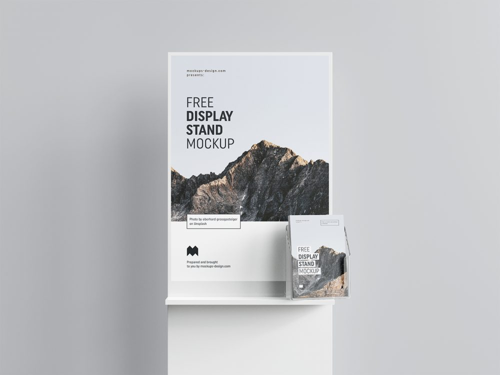 Free Poster Display with Flyers Mockup